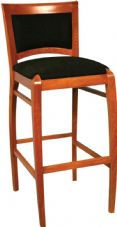 Culver Wooden High Stool with Upholstered Seat & Back